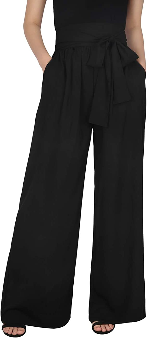 HDE Womens Outlet SALE High Waisted Pants Wide Palazzo Bombing free shipping Leg Pant Trousers wit