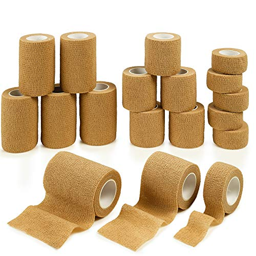 MEDca Tape Wrap, Self Adherent Rap Tape, Adhering Stick Bandage, Self Grip Roll 1 Inche 2 Inch and 3 inch X 5 Yards 6 of Each Size Total of 18 Rolls