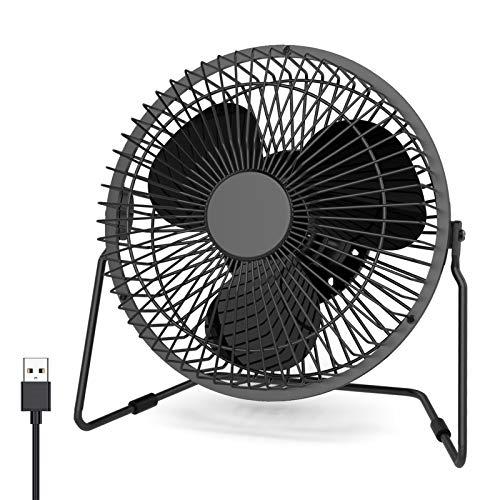 Ventilador de escritorio pequeño USB, XUAMZ Mini ventilador personal de escritorio portátil de 6 pulgadas, 2 velocidades, ajustable, rotación de 360 grados, diseño de metal(Negro)