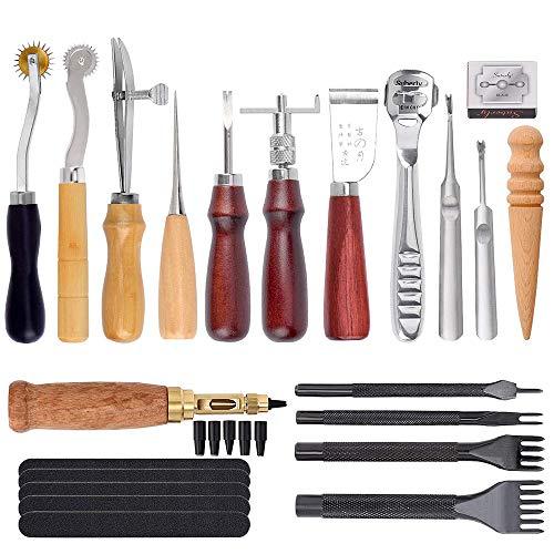 Kit de herramientas de artesanía de cuero Dechengbao 18 piezas, herramienta de bricolaje de artesanía de cuero para coser a mano, estampar y hacer sillines