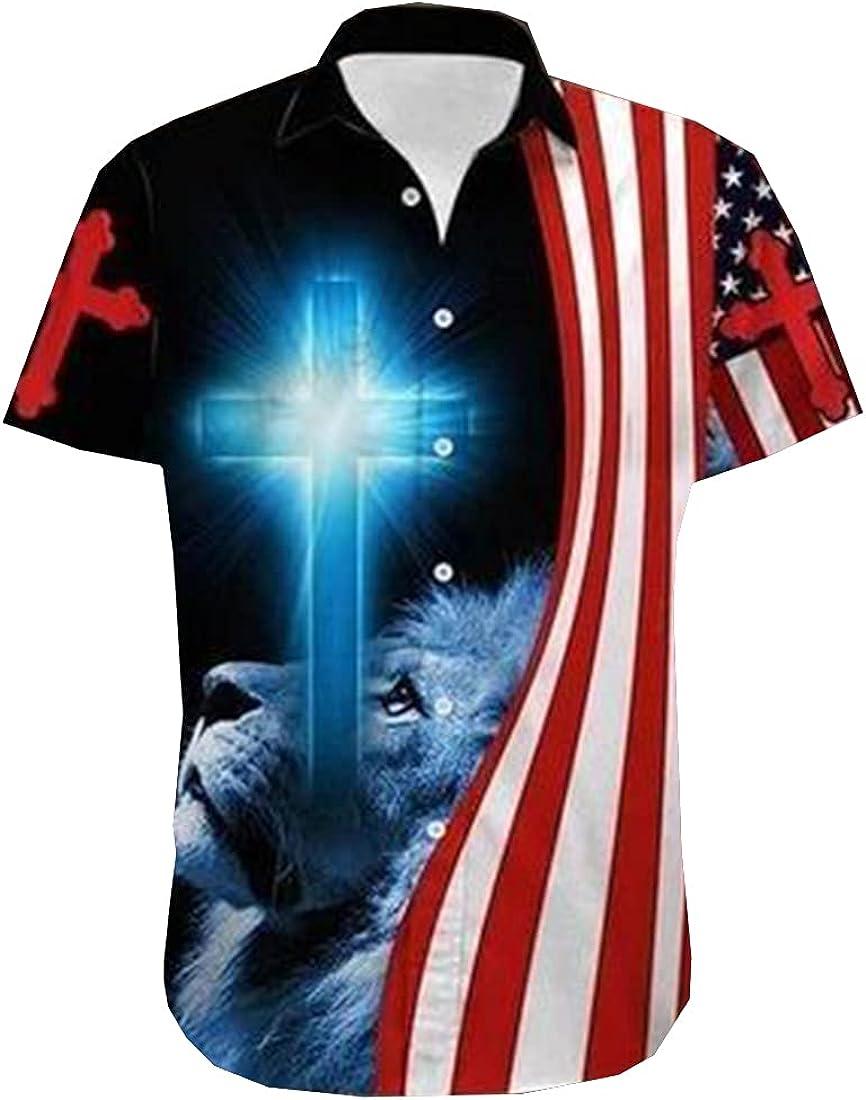 Tropical Christmas Hawaiian Shirts for Men - America Jesus Button Down Mens Hawaiian Shirts Short Sleeve Series 144