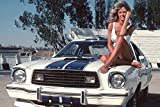 Farrah Fawcett Charlie's Angels Awesome Pose Sitting Barefoot on Hood of Mustang 18x24 Poster
