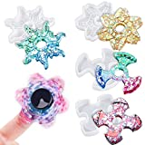 NiArt 4PCS DIY Fidget Finger Spinner Epoxy Resin Casting Silicone Molds + 10PCS Bearings + 20PCS Caps Kit, Stress Reliever Hand Fidget Toy Gifts for Kids and Adults Art Crafts Home Decorations Jewelry