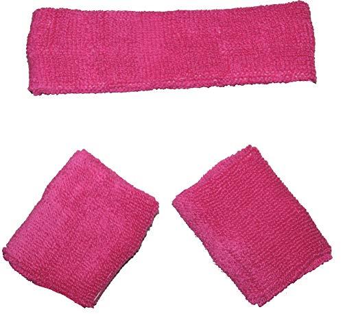 Foxxeo pinkes Schweißbänder Set 80er Jahre Stirnband und 2 Armbänder Party pink rosa Fasching Karneval