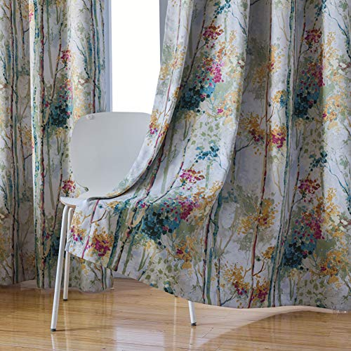 Kotile Floral Design Print Short Window Drapes with Colorful Tree Curtain for Kid's Room, 2 Panels 63 Inches Length Grommet Digital Printing Soft Room Darkening Blackout Curtains for Bedroom, Green