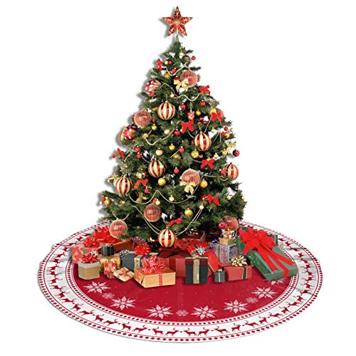 CUS-DES Christmas Tree Skirt Buffalo Plaid Tree Skirt Christmas Decorations Large Tree Mat Decor for Halloween Country Rustic Holiday Party Supplies 48'