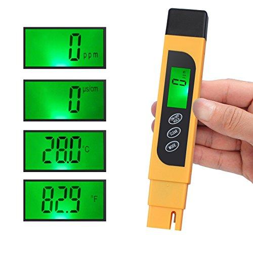 CAMWAY Digital Wasserqualität Tester, 3 in 1, TDS EC TEMP Meter Messgerät Tester Wassertest, Messbereich 0-9990ppm für Trinkwasser, Schwimmbäder, Thermen, Aquarien, Hydroponik