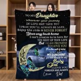 Flannel Blanket Personalized Custom Gifts Throw Blankets for Daughter Christmas Birthday Halloween 55'x70' (Blue, to Daughter from Dad)