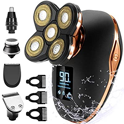 OriHea Electric Shavers Men, 5 in 1 Head Shavers for Bald Men LED Display Rechargeable Wet and Dry Electric Head Shavers Men Grooming Kit Beard Nose Hair Clippers(Gold) by OriHea