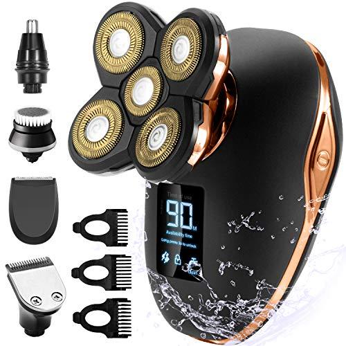 Glatzen Rasierer Herren OriHea TwinShaver Rasierer LED-Display Präzisionstrimmer Bartschneider Nass &Trockenrasierer IPX7 Wasserdicht, 5 IN 1 Rotationsrasierer kopfrasierer herren elektrisch-Gold