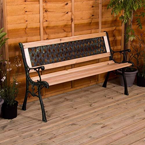 Home Discount Garden Vida Garden Bench, Cross Style Design 3 Seater Outdoor...