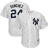 Personalizada Camiseta Deportiva Baseball Jersey Yankees de la Liga Mayor de béisbol # 24 Sanchez New York Yankees,White,Men-L