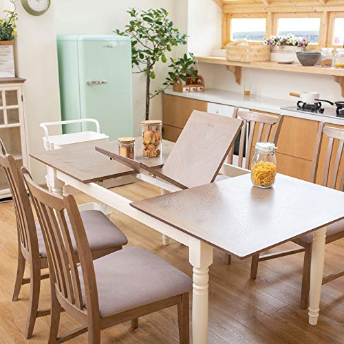 Furgle 5 Piece Furniture Kitchen Set Rectangular Extendable Oak Solid Wood Dining Table with 4 Chairs, Large Dining Set with Separate Extension Leaf 70.8' Long Table and Upholstered Fabric Seat
