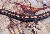 GlücksHucke Stirnriemen Pferd geschwungen, unterlegt 'Waidwerk' in Braun/Gold & Rot (Warmblut, Leder Schwarz)