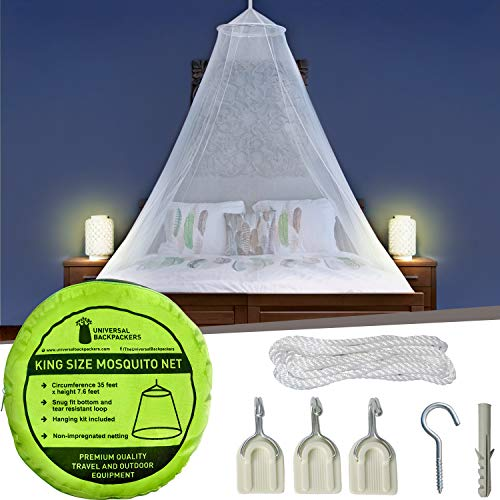 Mosquito Net for Single to King-Sized Beds – Fully-Enclosed Bed Canopy for Travel or Decoration – Free Bag, Hanging Kit & Adhesive Ceiling Hooks for Easy Setup