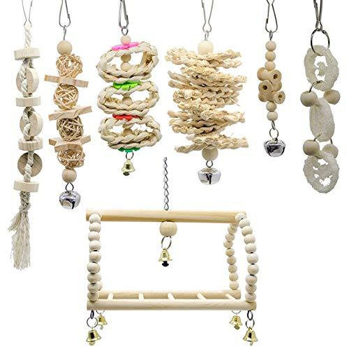 Youjin 7 piezas de juguetes para pájaros loros colgantes columpios campana de juguete de madera colgante hamaca de pie jaula de