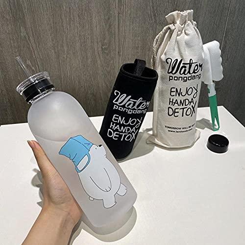 Botella de agua de plástico de oso lindo de 1000 ml Botella de gran capacidad a prueba de fugas para agua Taza de jugo transparente esmerilada Taza de agua-República Checa, 1.0L, MS Blanco TODO