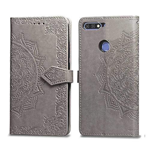 Bear Village Hülle für Huawei Honor 7C / Huawei Y7 2018, PU Lederhülle Handyhülle für Huawei Honor 7C / Huawei Y7 2018, Brieftasche Kratzfestes Magnet Handytasche mit Kartenfach, Grau