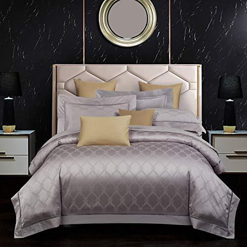 HanPaint Pure Color Consolador Beddig Sets 100% Hoja de Cama Cotto Bedsheet Jacquard edredón Funda nórdica 4 Piezas en el artículo Verona Gray Purple 4pcs for 1.5m Bed