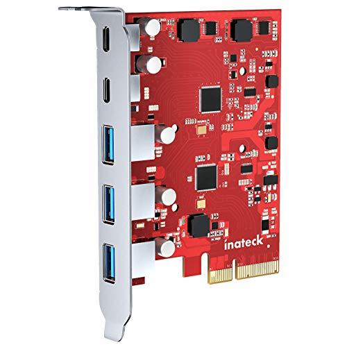 Inateck RedComets U21, Carte PCIe à USB 3,2 Gen 2 avec 20 Gbps Largeur de Bande, 3 Ports USB Type-A et 2 Ports Type-C, Rouge
