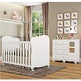 Quarto de Bebê com Berço Americano e Cômoda 4 Gavetas e 1 Porta Uli Móveis Peroba Branco