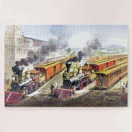 Wooden Jigsaw Puzzle 1000 Piece for Adults   Vintage Steam Trains Travel Illustration Art Jigsaw Puzzle ame Toys ift Jigsaw Puzzle