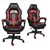 Video Gaming Chair Racing Recliner - Ergonomic Adjustable Padded Armrest Swivel High Back Footrest Headrest Lumbar Support Pillow Leather Bucket Office Computer for PS5 Vibrate Massage RED