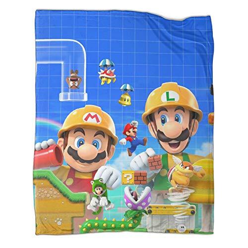 Manta de dormitorio Super Mario apta para todas las estaciones, diseño de personajes (80 x 100 cm)