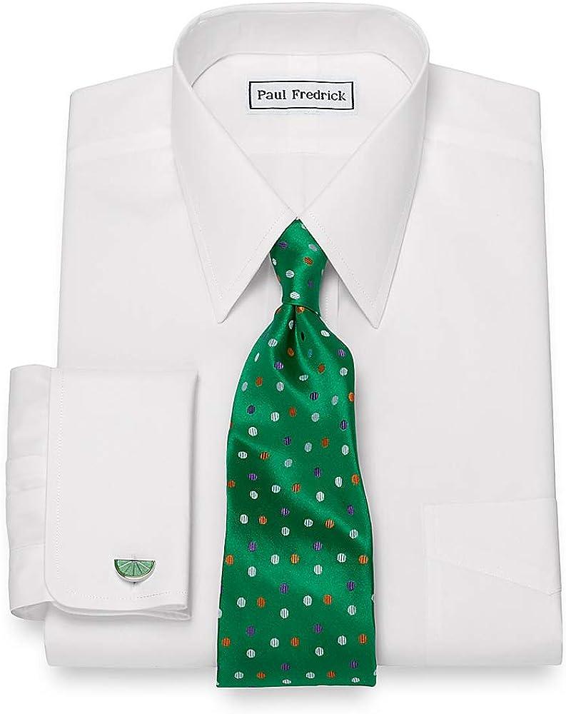 Paul Fredrick Men's Non-Iron Supima Cotton Straight Collar Dress Shirt