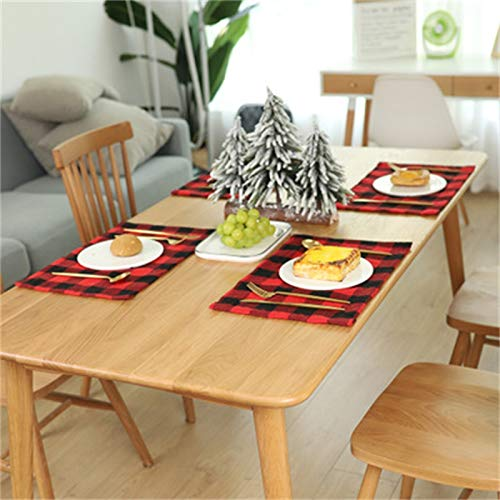 Christmas Placemats For Dining Table Red Black Buffalo Check Placemats Set Of 6 Plaid Placemats Set Farmhouse Christmas Decorations Kitchen Burlap 6 Pcs Fall HolidayTable Placemat For Dining 11x17 In