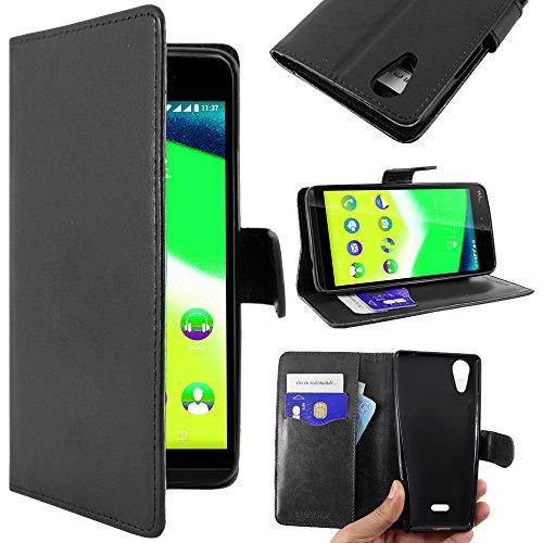 ebestStar - kompatibel mit Wiko Rainbow Jam 4G Hülle Kunstleder Wallet Case Handyhülle [PU Leder], Kartenfächern, Standfunktion, Schwarz [Phone: 143.1 x 71.4 x 8.7mm, 5.0'']