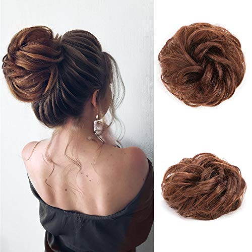 100% Remy Human Hair Bun Extensions Light Brown Messy Hair Scrunchies Pieces Wedding Hair Pieces for Women Kids Hair Updo Donut Chignons