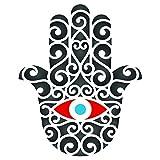 Hamsa-Schablone, wiederverwendbar, mit Handmotiv, Islam, Judentum, Kabbalah, für Papier, Scrapbook, Tagebuch, Wände, Böden, Stoff, Möbel, Glas, Holz usw. XS