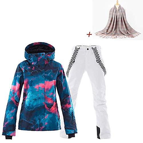 Ski Jas Waterdichte Ski Suit Sneeuwpak Winter Skiën Dames Ski Jas en Broek Set en Acryl Gestreepte Sjaal