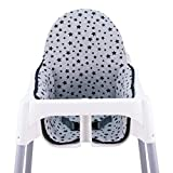 JANABEBE Cuscino per il seggiolone di Ikea antilop (Black Star)