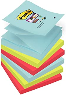 Post-it Super Sticky - Pack de 6 blocs notas, diseño Miami, colores ola marina, verde neón y amapola