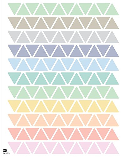 Tresxics Adhesivo de Pared Triángulo, Vinilo, Pastel, 40x32x3 cm, 132 Unidades
