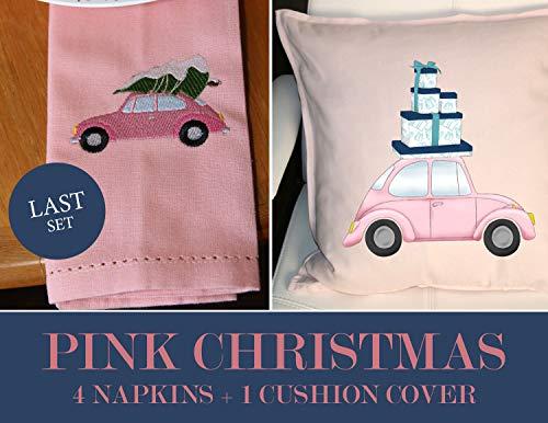 Meg121ace Fun Pink Christmas kussensloop en 4 servetten met roze VW Kever kussen bedrukte servetten Gedrukte leuke set voor vriend