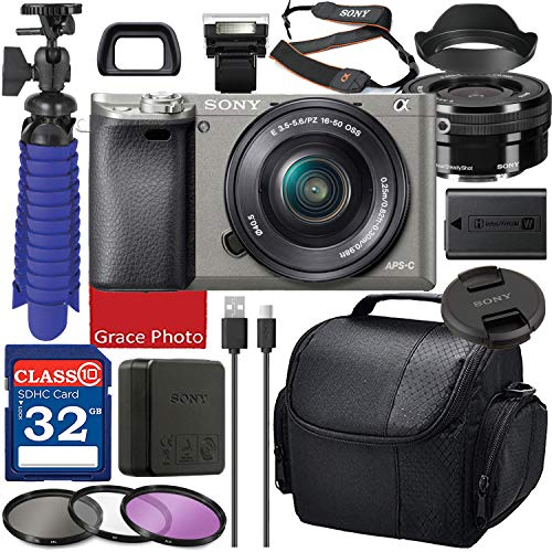 Sony Alpha a6000 Digital Camera with 16-50mm Lens (Graphite ILCE6000L/H) Bundle with Accessory Package Including 32GB Memory, Spider Vlog Tripod & More (16 Pieces)