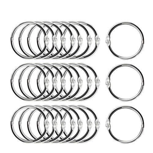 20 PCS Binder Rings, AK1980 1 Inch Loose Leaf Book Rings, Nickel Plated Steel Binder Rings, Keychain Key Rings, Metal Book Rings, Silver for Office, School, Home