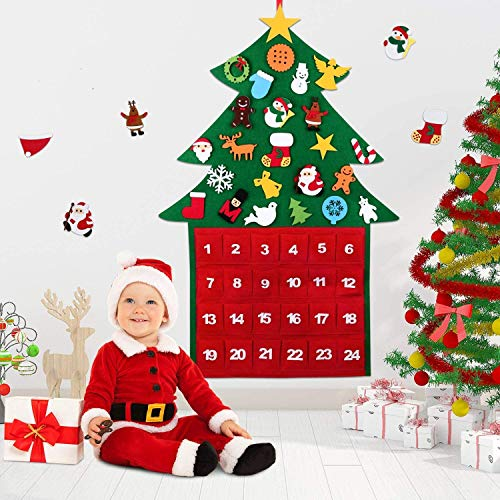 WOKKOL Felt Christmas Tree, 3.3ft DIY Christmas Tree Decoration Countdown to Christmas Tree Fabric Calendar Advent with Pockets and 29Pcs Ornaments, New Year Door Wall Decorations, Kids Xmas Gifts