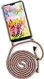ONEFLOW® Handykette kompatibel mit Huawei P20 - Handyhülle mit Band zum Umhängen Case Abnehmbar Smartphone Necklace - Hülle mit Kette, Regenbogen Bunt