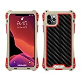 iphone 5 aluminum bumper - Feitenn iPhone 11 Pro Max Case Heavy Duty, iPhone 11 Pro Max Case Armor, Metal Cover Alloy Aluminum Military Bumper Soft Rubber Shockproof Outdoor Hard Defender for iPhone 11 Pro Max 6.5'' - Gold/Red