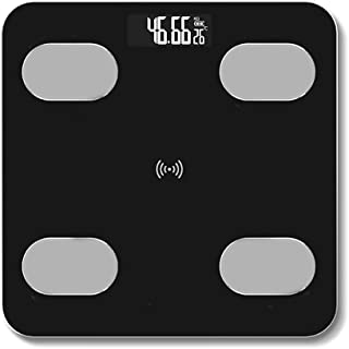 LINLIN Báscula de Grasa Corporal Bluetooth Inteligente, BMI Premium Báscula de baño Digital, Báscula de Peso Corporal vía Bluetooth o Wi-Fi Báscula de Grasa Corporal,Negro,Recharge Models