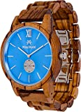 Wooden Watch for Men Maui Kool Kaanapali Collection Analog Large Face Wood Watch Bamboo Box (C2 - Blue Face)