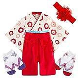 JUST style 袴 ロンパース (花飾り付き) 新生児 カバーオール 和服 和装 男の子 女の子 (90cm,レッド)