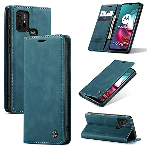 KONEE Hülle Kompatibel mit Motorola Moto G30 / Moto G10, Lederhülle PU Leder Flip Tasche Klappbar Handyhülle mit [Kartenfächer] [Ständer Funktion], Cover Schutzhülle für Motorola Moto G10 - Blaugrün