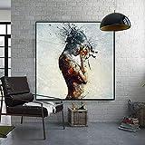 wZUN Póster e Impresiones de Mujer de Fuego Abstracto Pintura de Lienzo Cuadro de Arte de Pared para la decoración del hogar de la Sala de Estar 60x60 Sin Marco