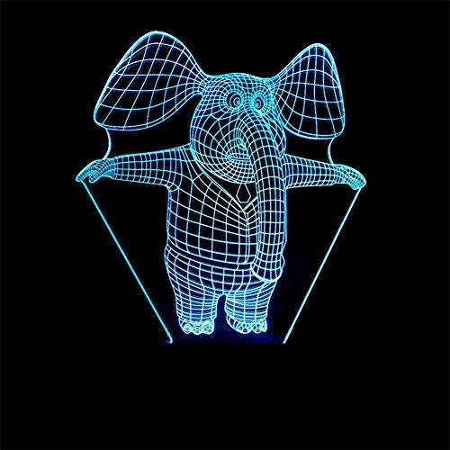 baby Q LED 3D Illusion Lampe, Lumière colorée de Contact d'éléphant, Lampe d'alimentation d'énergie d'USB, Lampe visuelle Acrylique