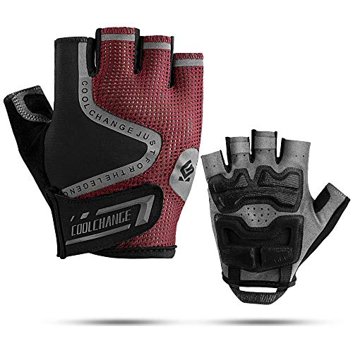 Cool Change Mountain Bike Gloves Half Finger Cycling Gloves Motorcycle Gloves for Men Women Reflective Anti-Slip Shock-Absorbing Thick Padded Biking Gloves